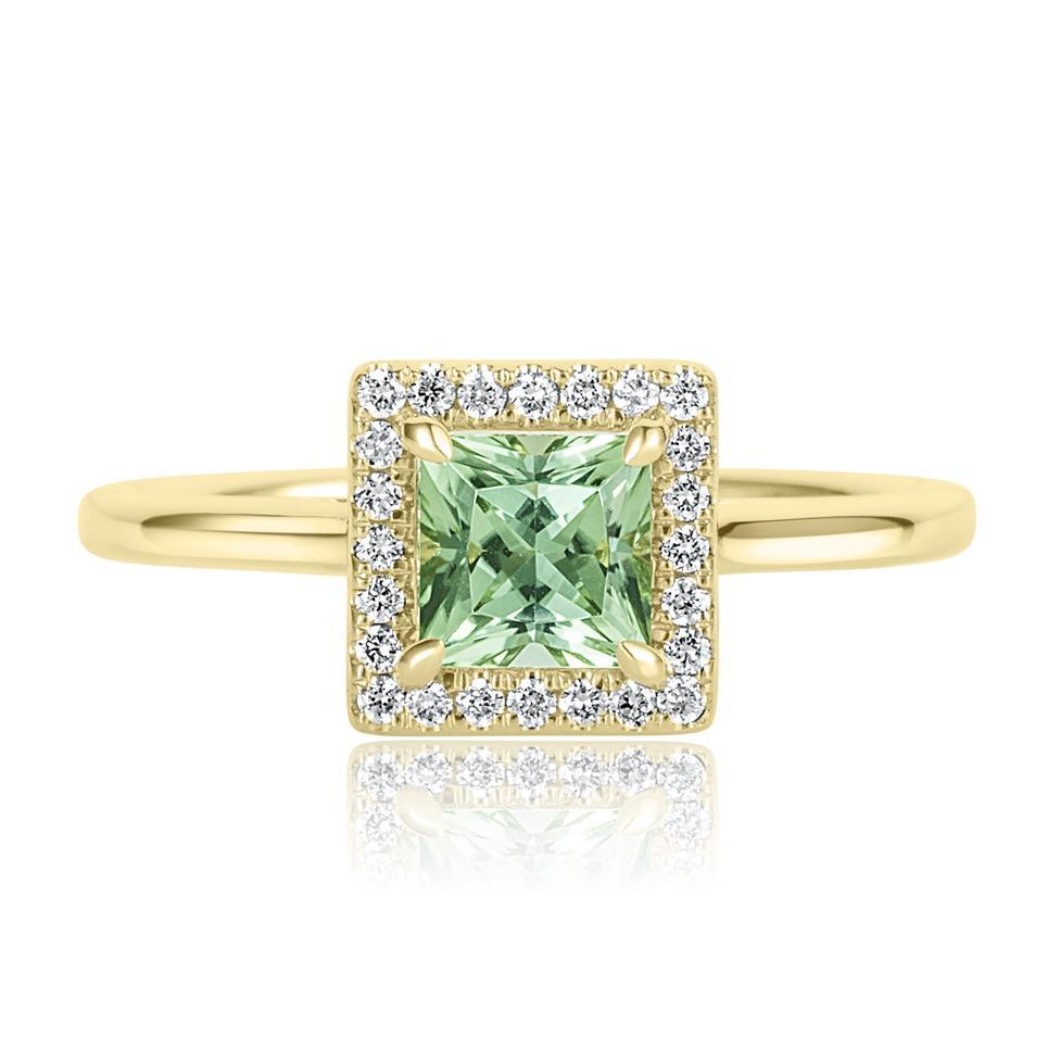 18ct Yellow Gold Princess Cut Mint Green Tourmaline and Diamond Halo Dress Ring Thumbnail Image 1
