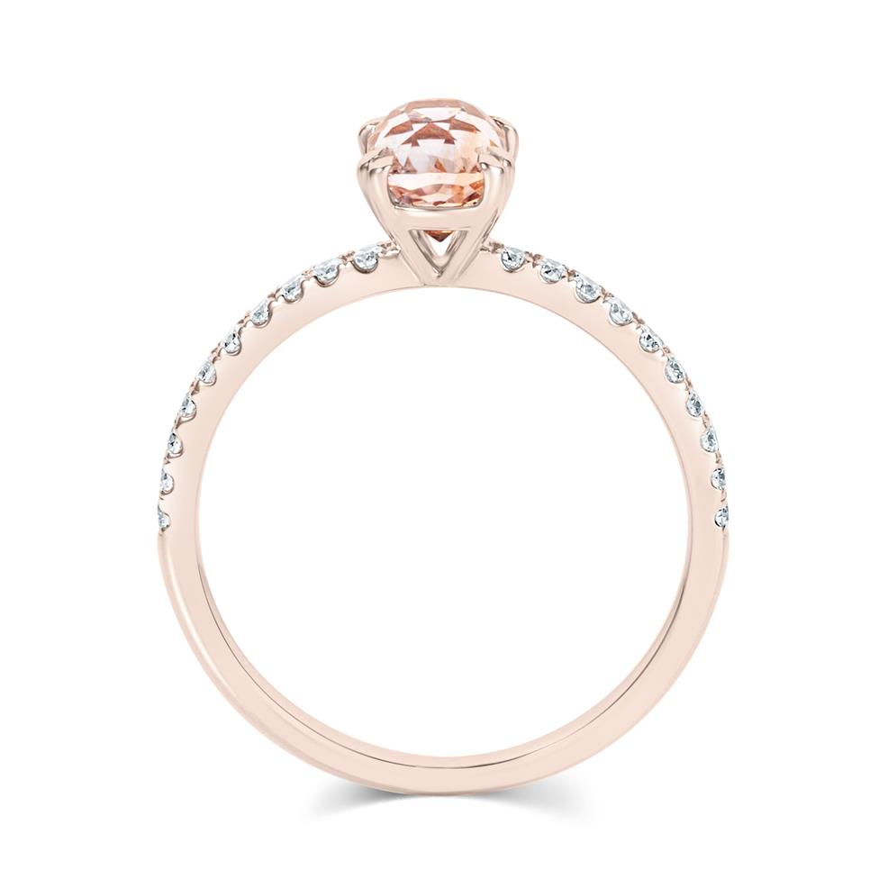 18ct Rose Gold Cushion Cut Padparadscha Sapphire Solitaire Engagement Ring Thumbnail Image 2