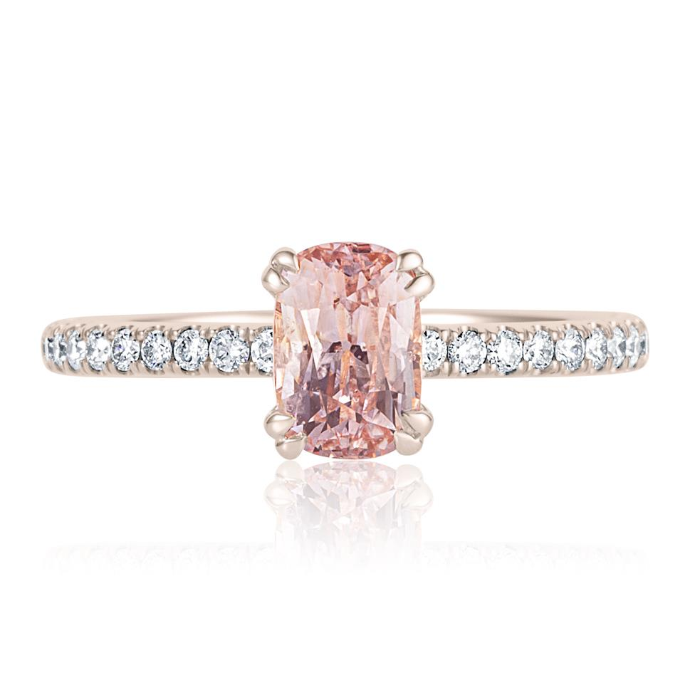 18ct Rose Gold Cushion Cut Padparadscha Sapphire Solitaire Engagement Ring Thumbnail Image 1