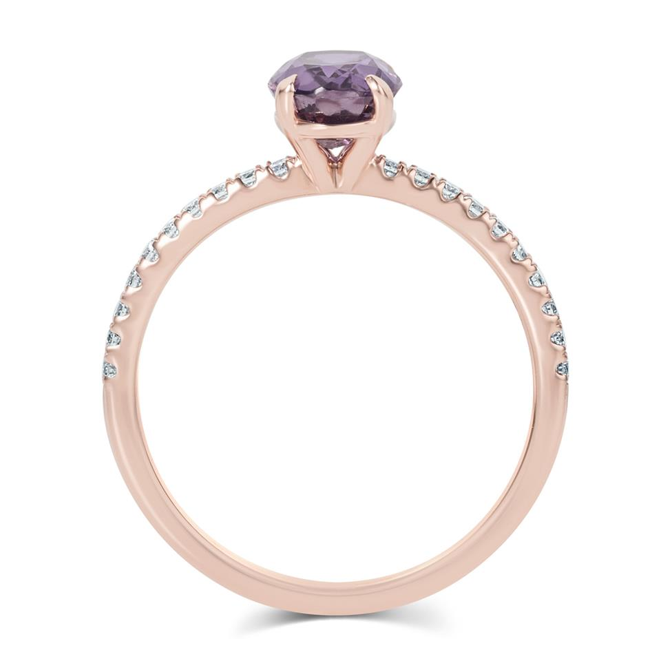 18ct Rose Gold Oval Violet Sapphire Solitaire Engagement Ring Thumbnail Image 2