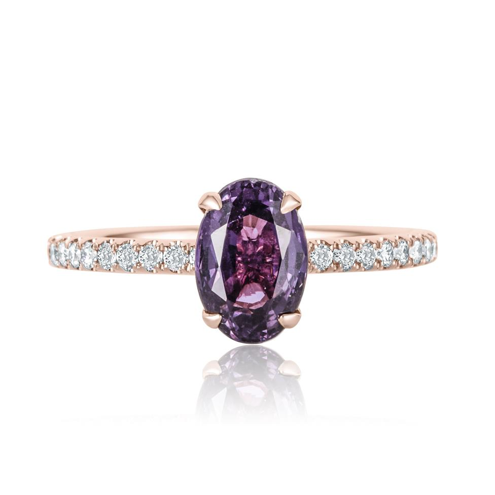 18ct Rose Gold Oval Violet Sapphire Solitaire Engagement Ring Thumbnail Image 1