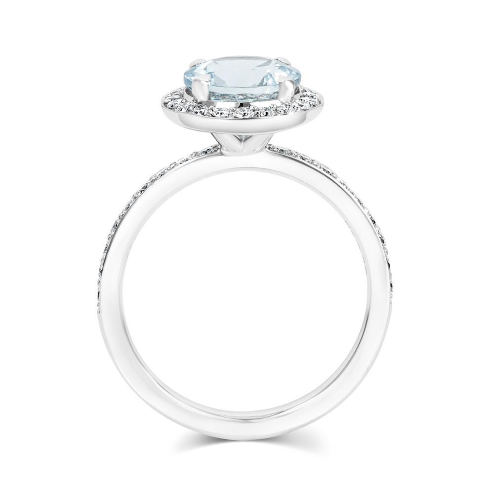 Platinum Aquamarine and Diamond Halo Dress Ring Thumbnail Image 2