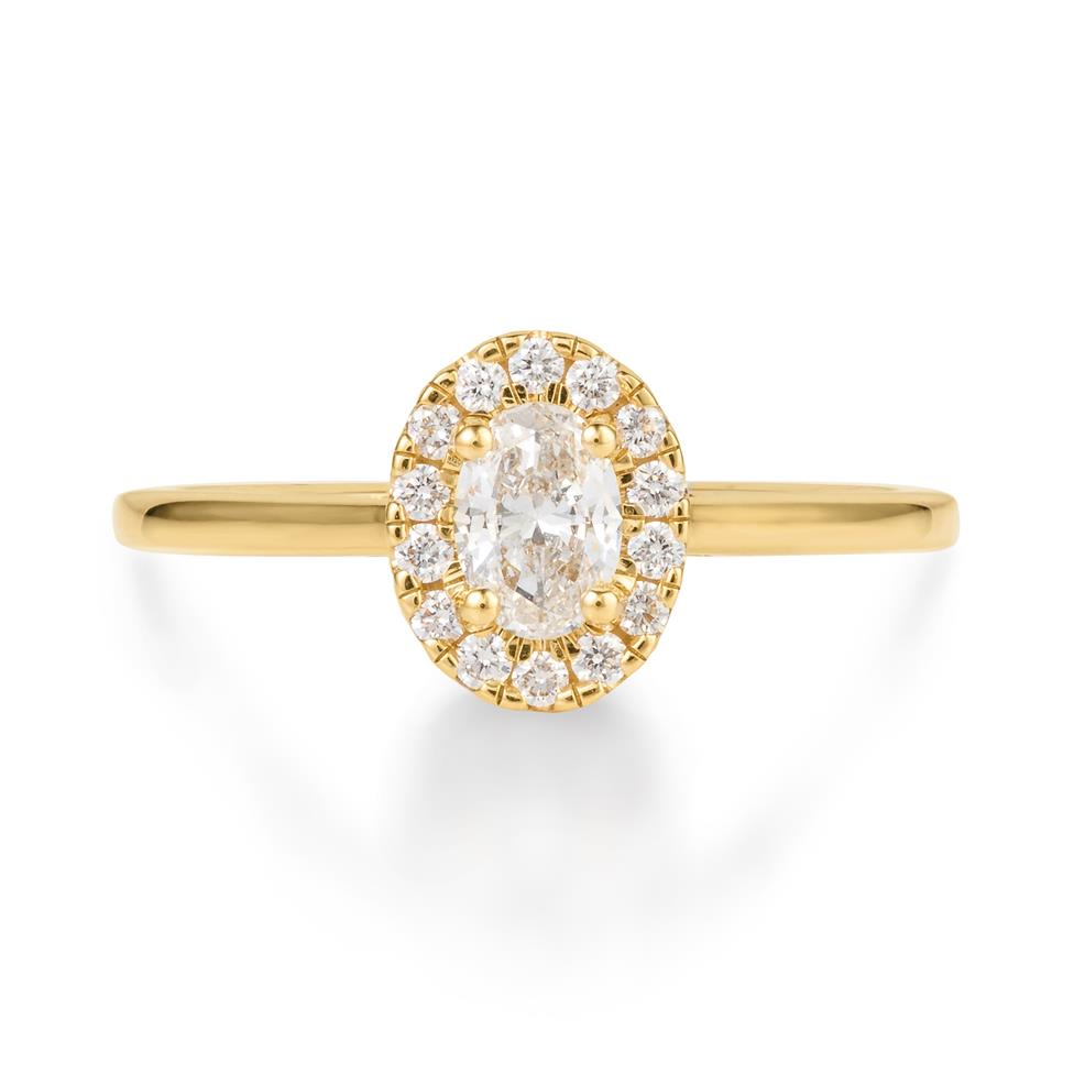 18ct Yellow Gold Oval Diamond Halo Engagement Ring 0.45ct Thumbnail Image 1