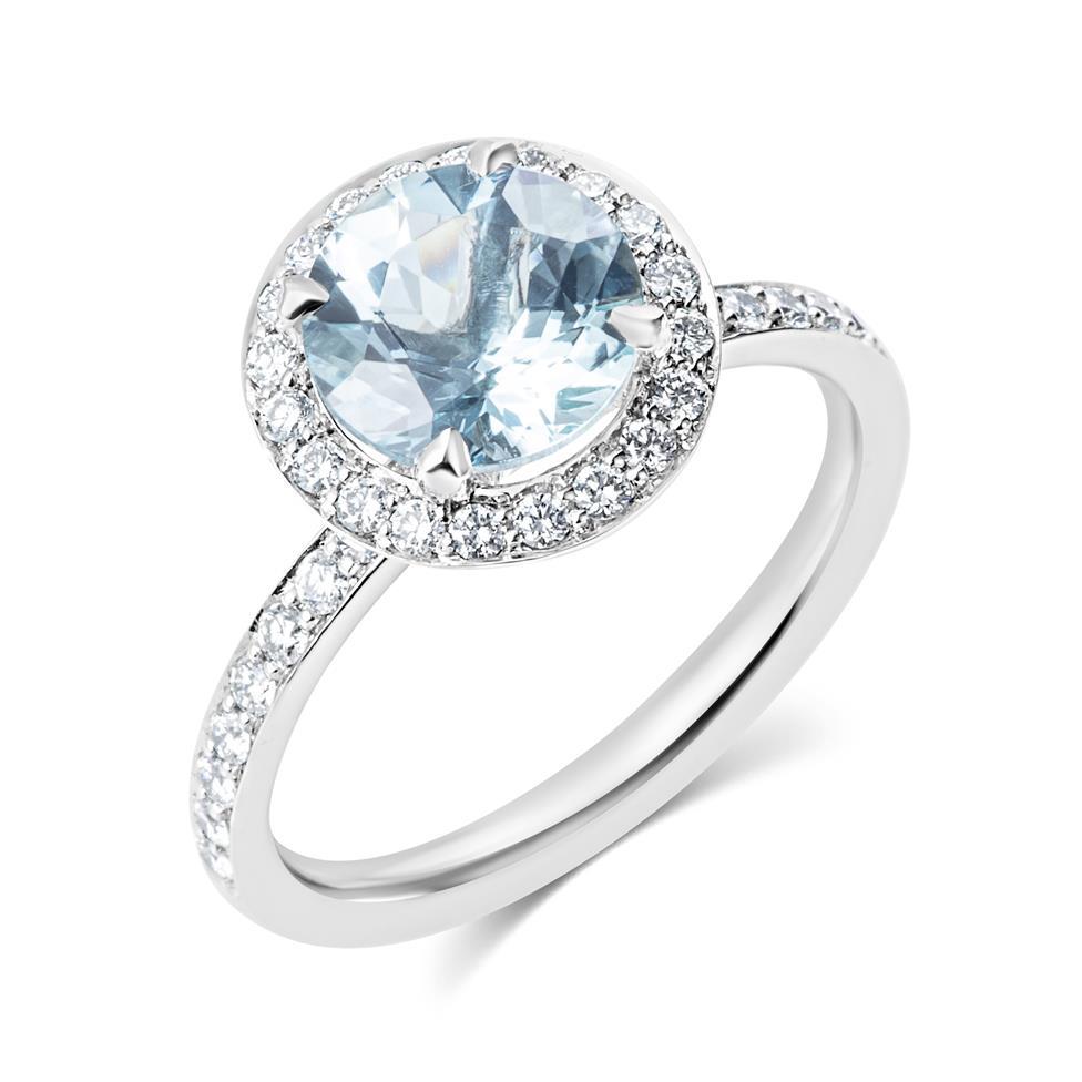 Platinum Aquamarine and Diamond Halo Dress Ring Thumbnail Image 0
