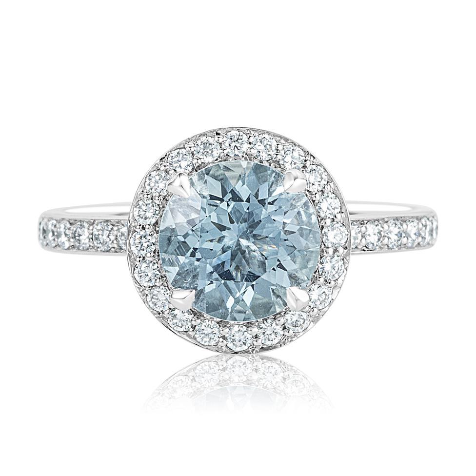 Platinum Aquamarine and Diamond Halo Dress Ring Thumbnail Image 1