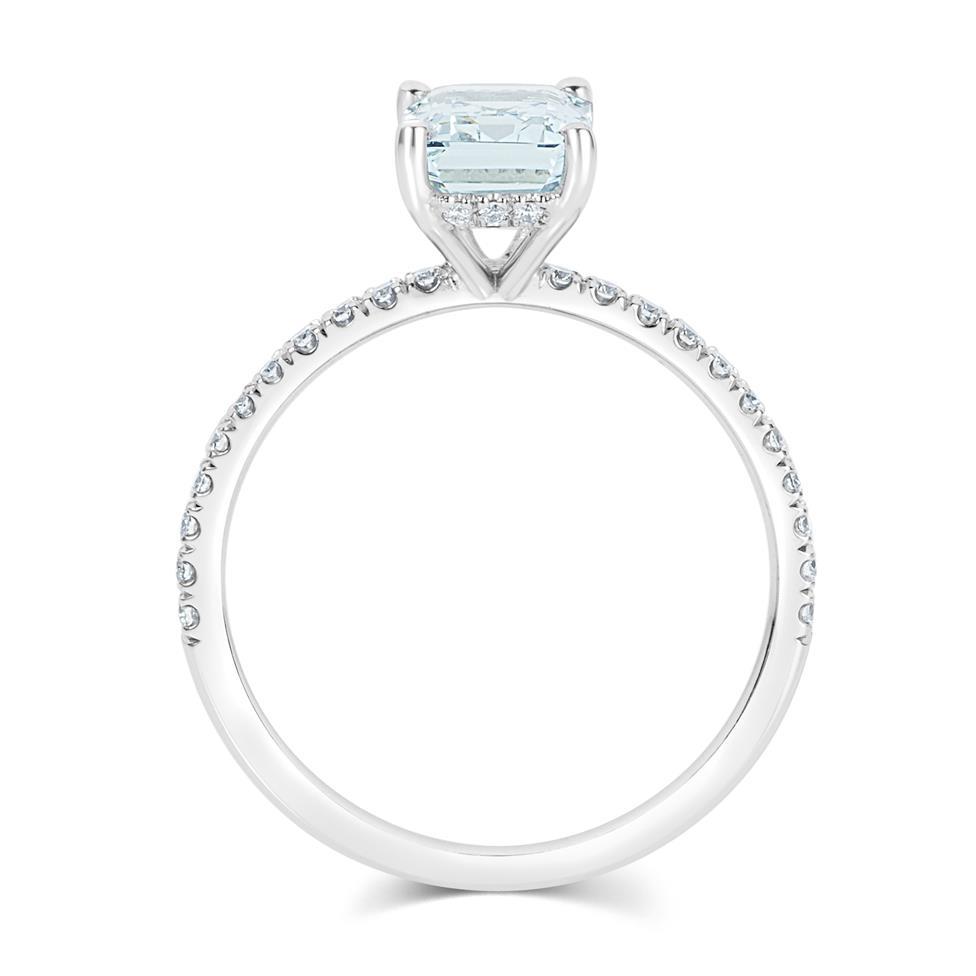 Platinum Aquamarine Solitaire Dress Ring  Thumbnail Image 2