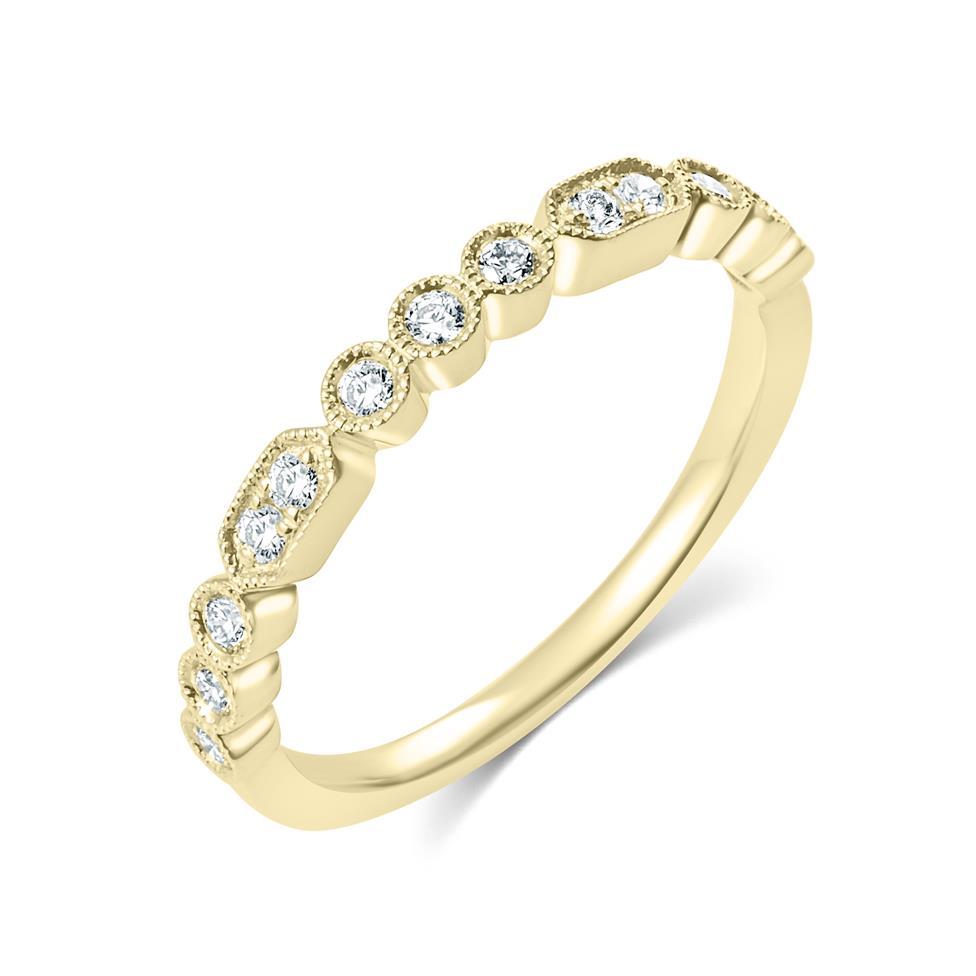 18ct Yellow Gold Vintage Style Diamond Half Eternity Ring 0.22ct Thumbnail Image 0
