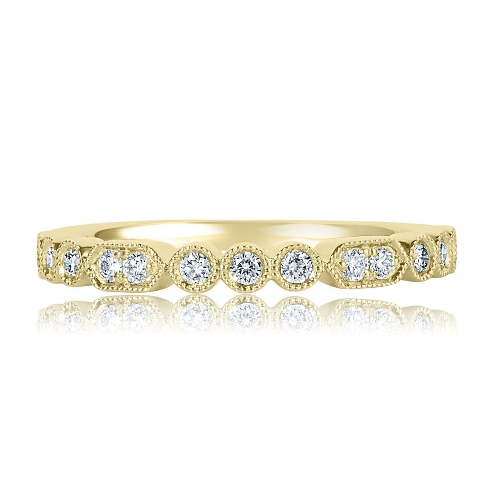 18ct Yellow Gold Vintage Style Diamond Half Eternity Ring 0.22ct Thumbnail Image 1