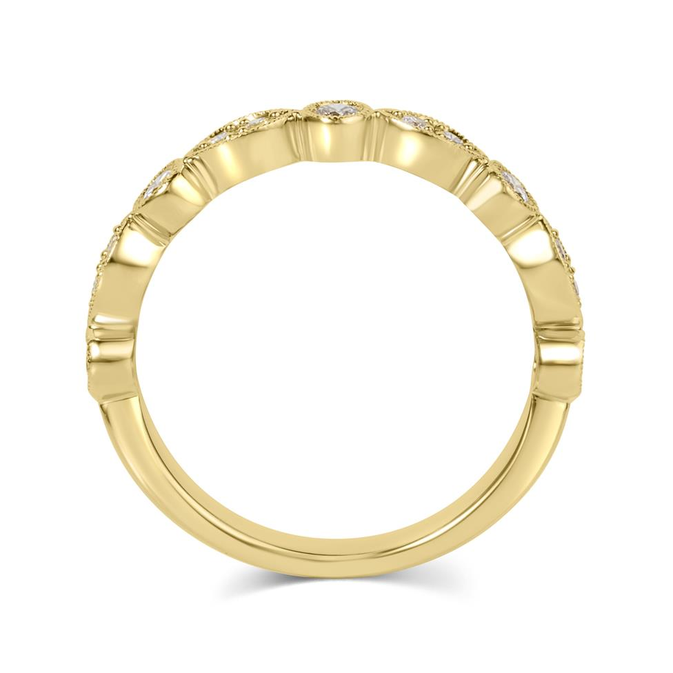 18ct Yellow Gold Vintage Style Diamond Half Eternity Ring 0.30ct Thumbnail Image 2