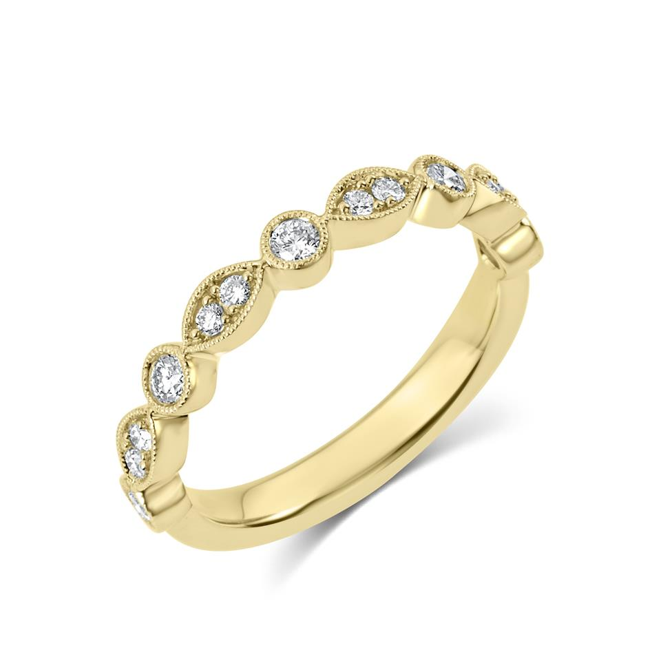 18ct Yellow Gold Vintage Style Diamond Half Eternity Ring 0.30ct Thumbnail Image 0