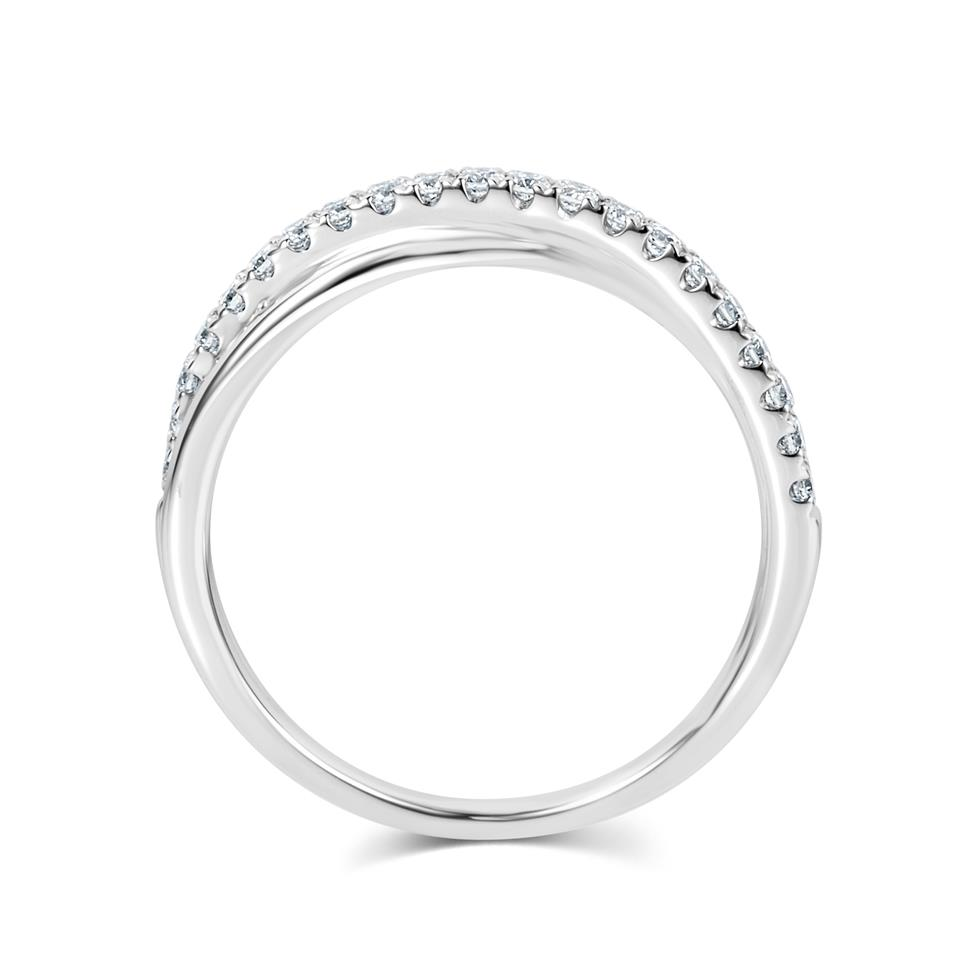 Platinum Crossover Design Diamond Dress Ring 0.20ct Thumbnail Image 3