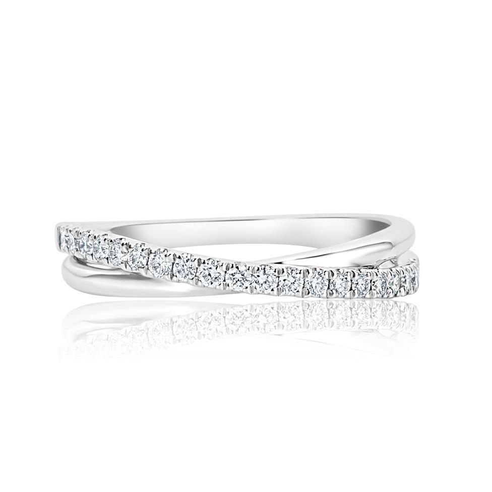 Platinum Crossover Design Diamond Dress Ring 0.20ct Thumbnail Image 2