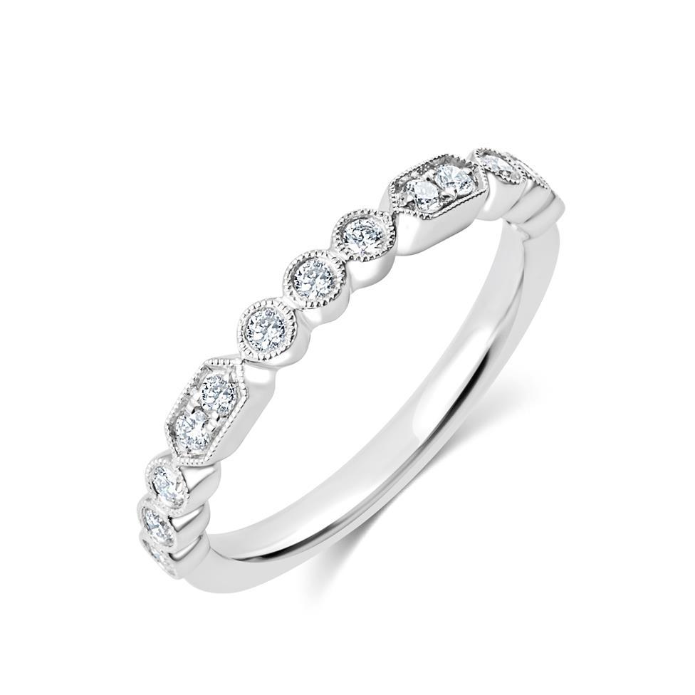 Platinum Vintage Style Diamond Half Eternity Ring 0.22ct Thumbnail Image 0