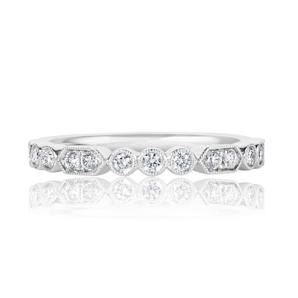 Platinum Vintage Style Diamond Half Eternity Ring 0.22ct Thumbnail Image 1
