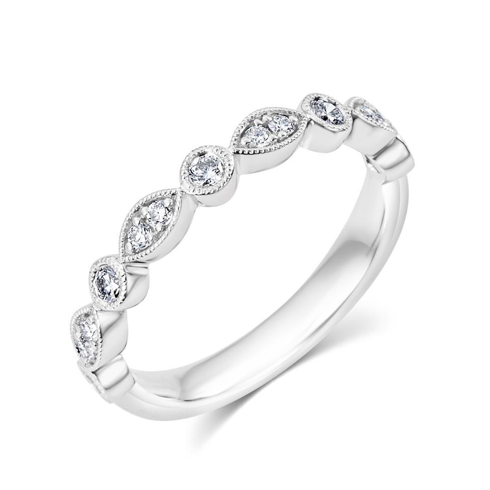 Platinum Vintage Style Diamond Half Eternity Ring 0.30ct Thumbnail Image 0