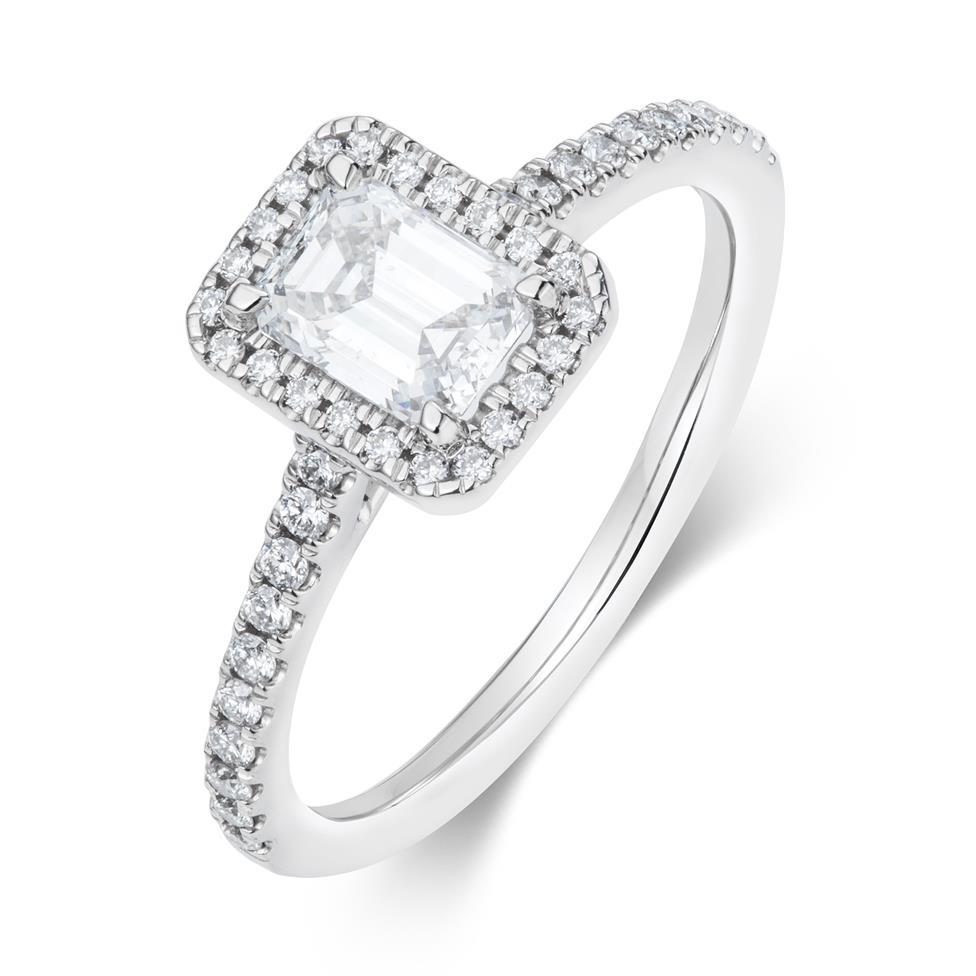 Platinum Emerald Cut Diamond Halo Engagement Ring 0.70ct Thumbnail Image 0