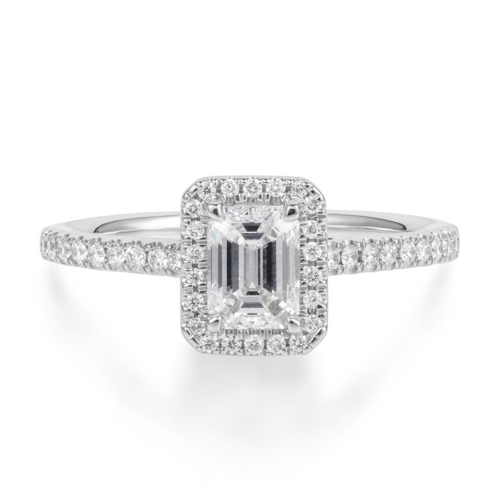 Platinum Emerald Cut Diamond Halo Engagement Ring 0.70ct Thumbnail Image 1