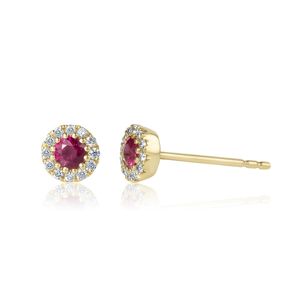 Camellia 18ct Yellow Gold Ruby and Diamond Halo Earrings Thumbnail Image 0