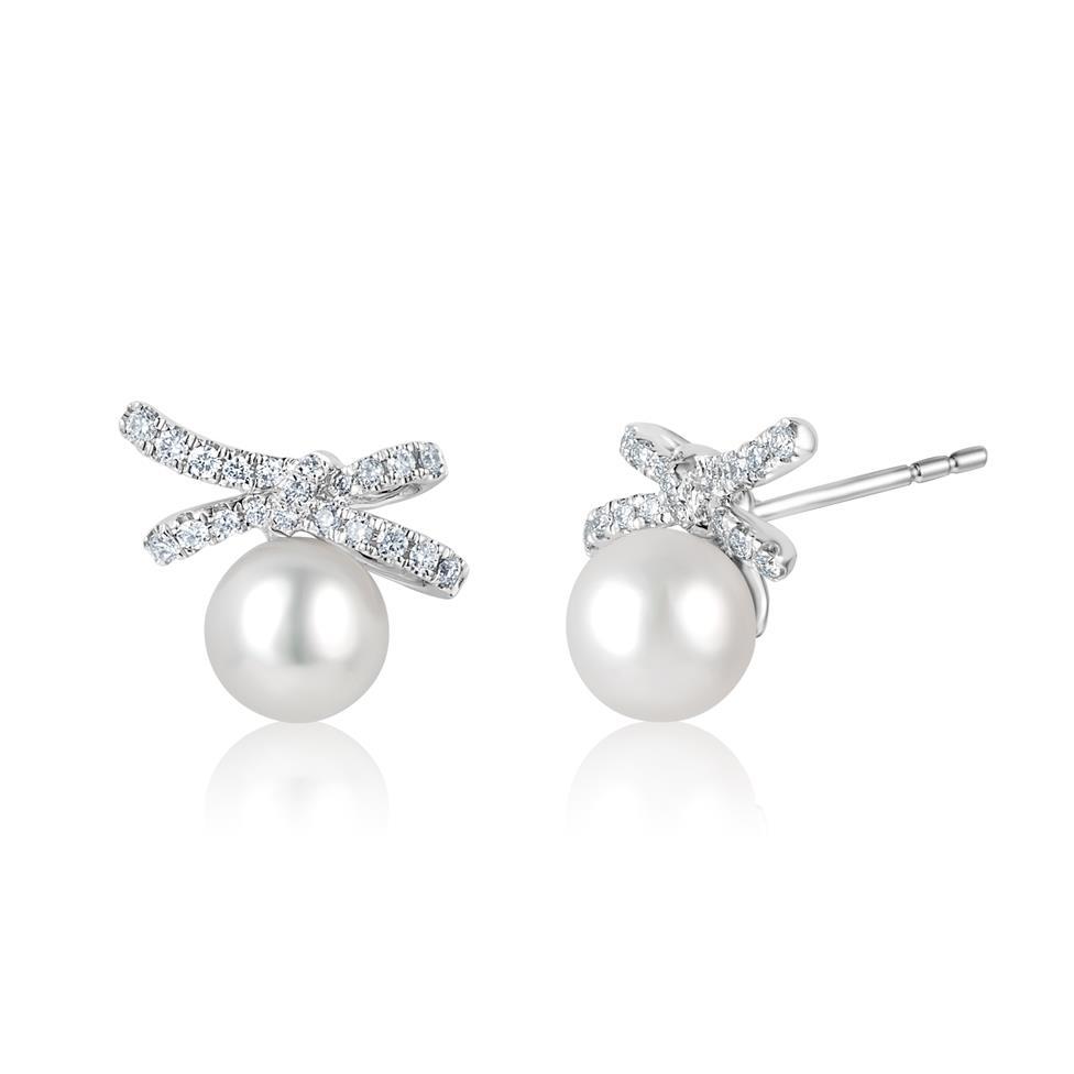Isla 18ct White Gold Bow Design Pearl and Diamond Stud Earrings Thumbnail Image 0