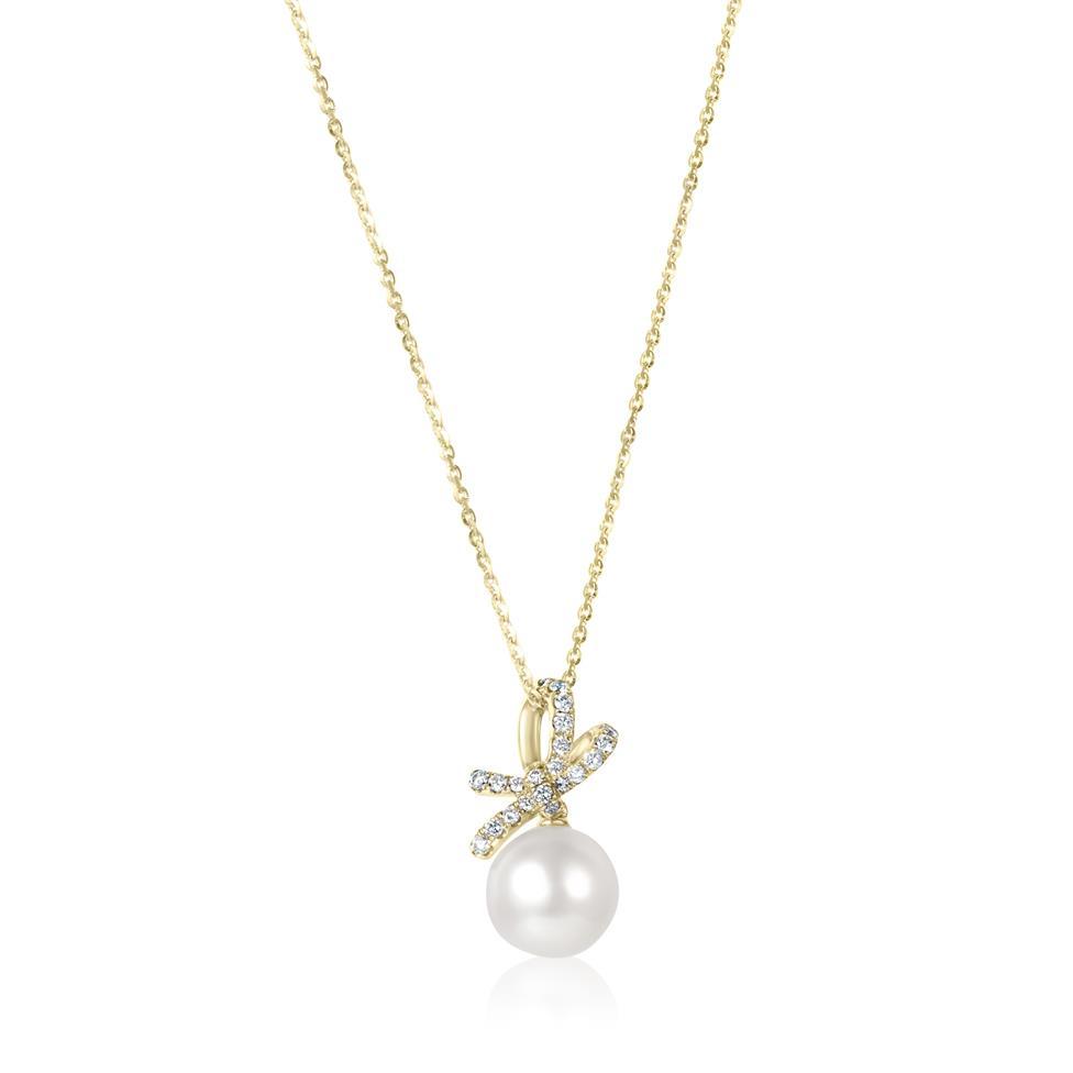 Isla 18ct Yellow Gold Bow Design Pearl and Diamond Drop Pendant Thumbnail Image 0