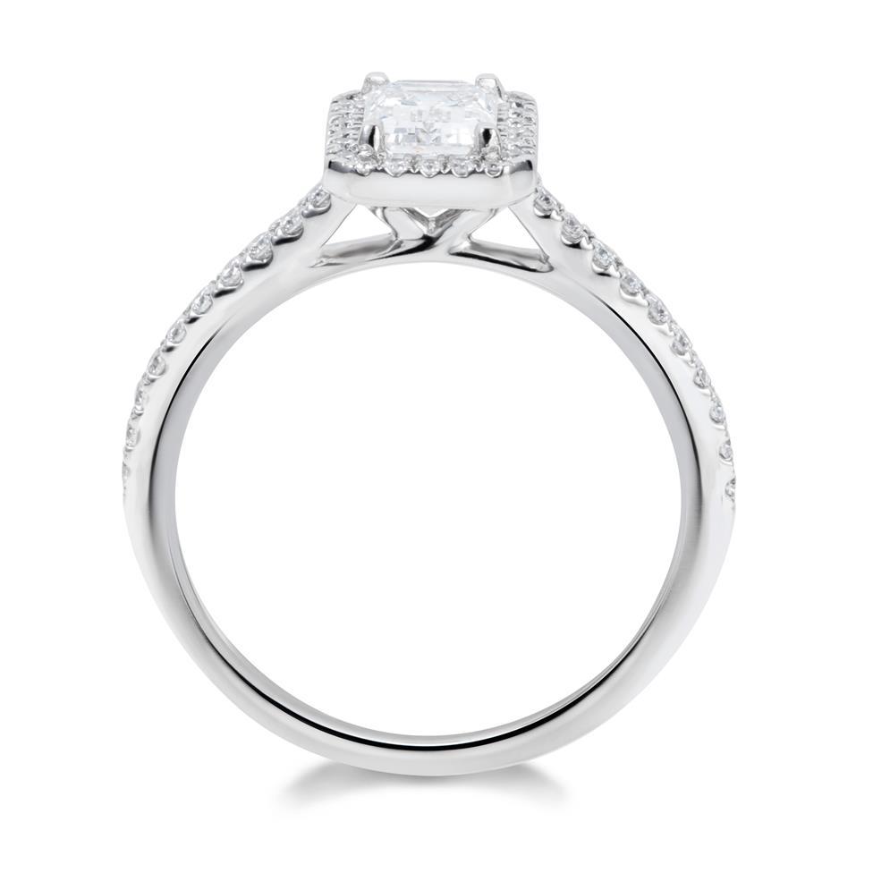 Platinum Emerald Cut Diamond Halo Engagement Ring 0.70ct Thumbnail Image 2