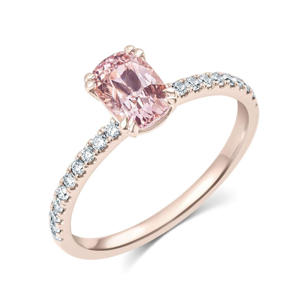 18ct Rose Gold Cushion Cut Padparadscha Sapphire Solitaire Engagement Ring Thumbnail Image 0