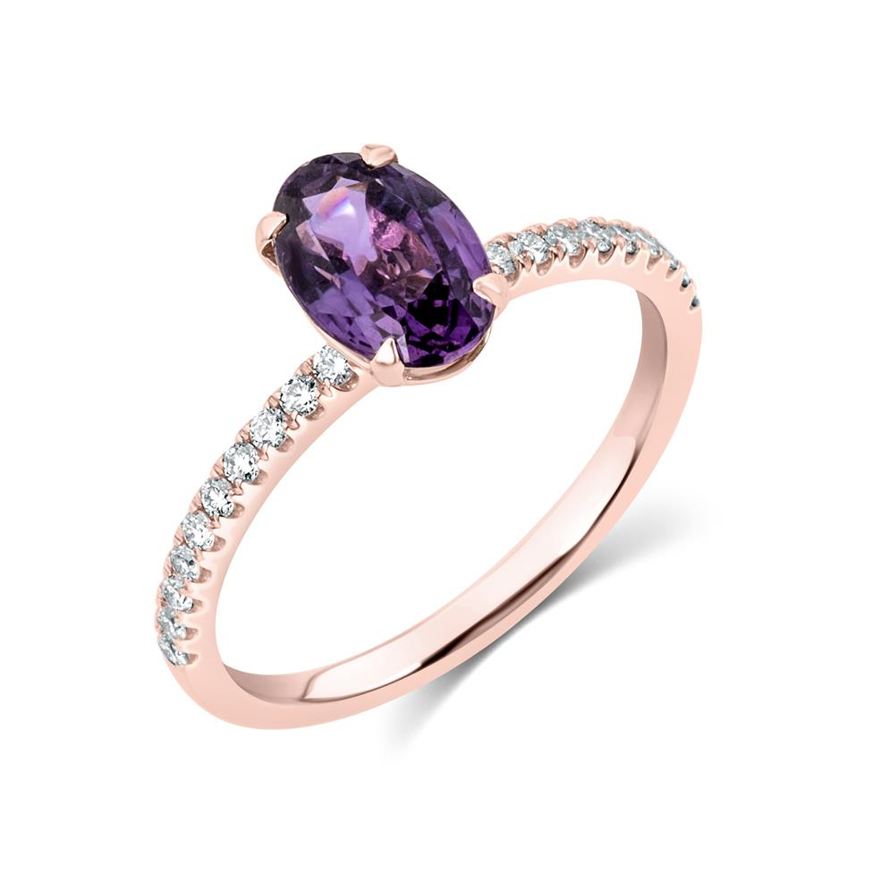 18ct Rose Gold Oval Violet Sapphire Solitaire Engagement Ring Thumbnail Image 0