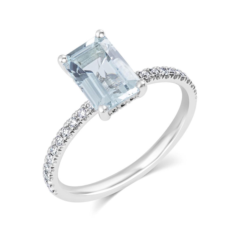 Platinum Aquamarine Solitaire Dress Ring  Thumbnail Image 0