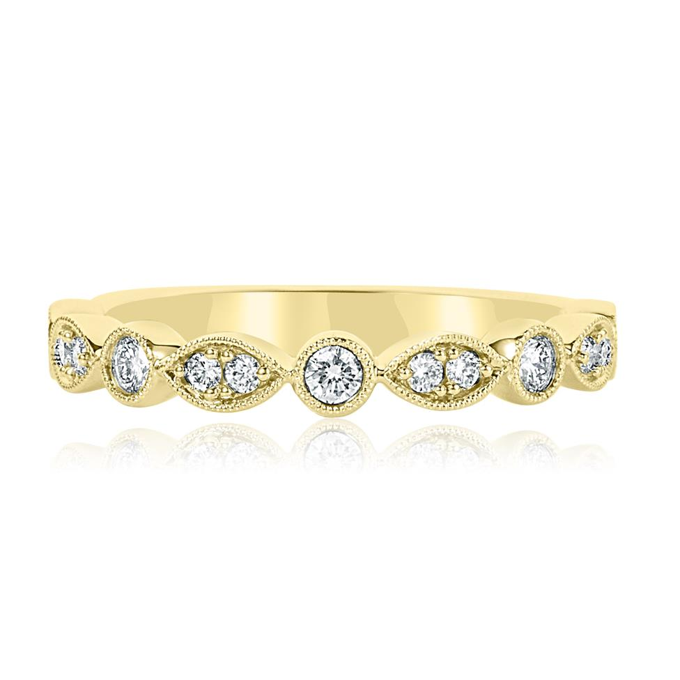 18ct Yellow Gold Vintage Style Diamond Half Eternity Ring 0.30ct Thumbnail Image 1