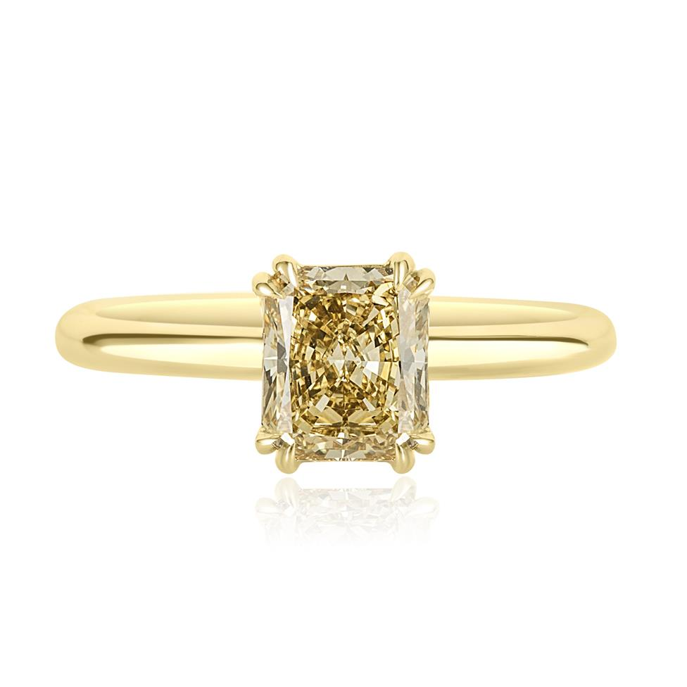 18ct Yellow Gold Radiant Cut Natural Champagne Diamond Solitaire Engagement Ring 1.51ct Thumbnail Image 1