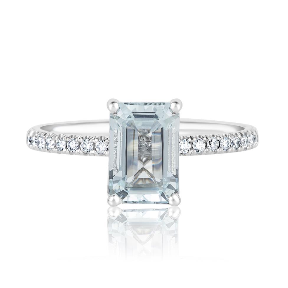 Platinum Aquamarine Solitaire Dress Ring  Thumbnail Image 1