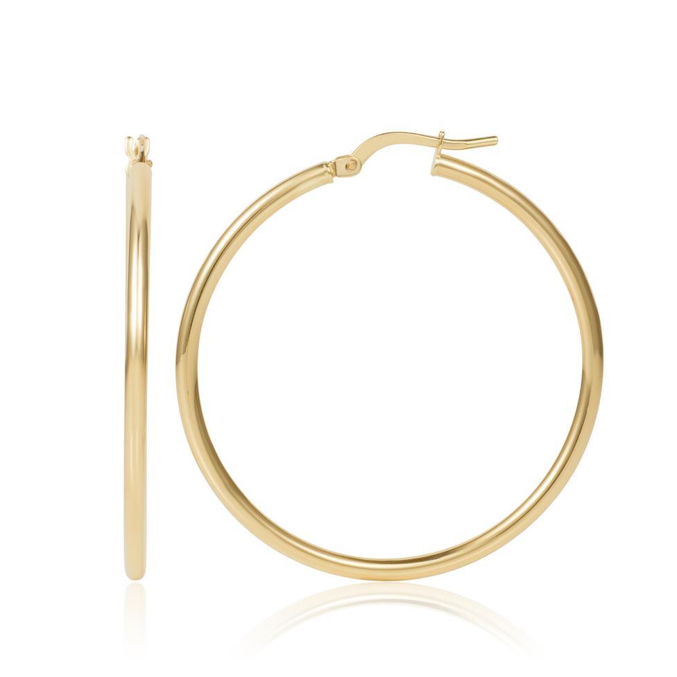 18ct Yellow Gold Hoop Earrings 34mm Thumbnail Image 0
