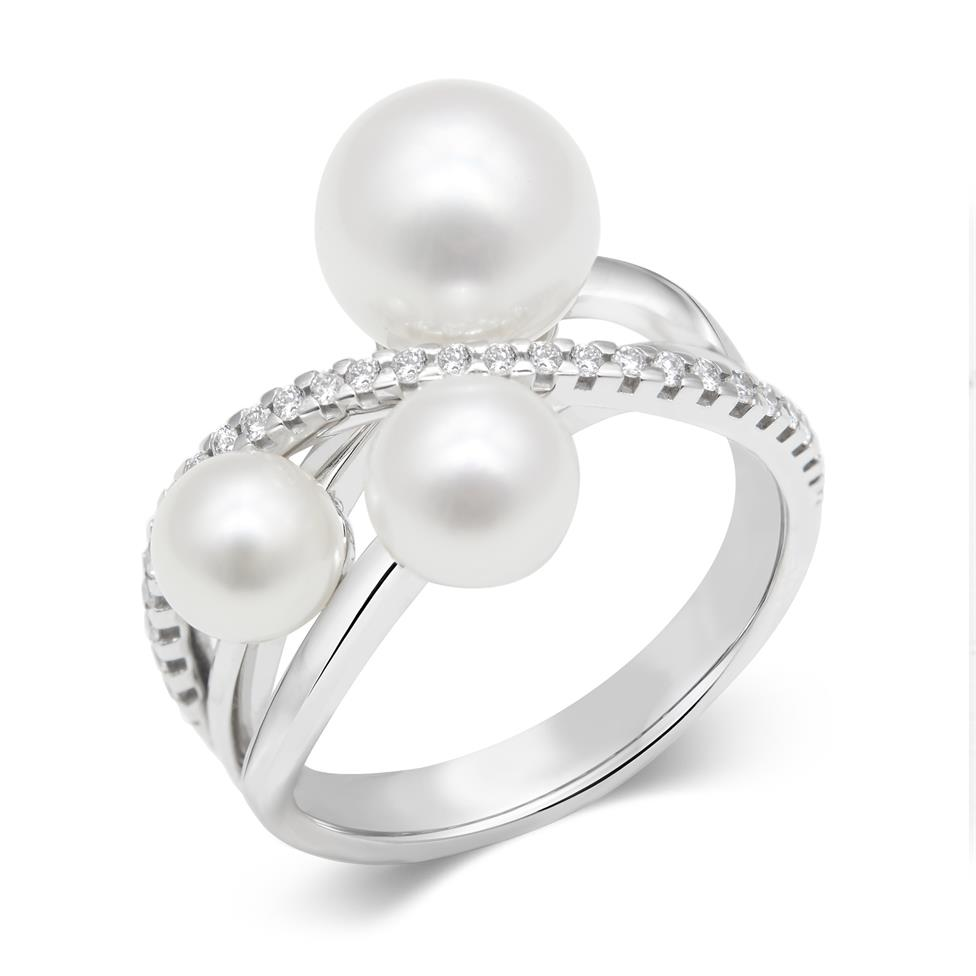 18ct White Gold Pearl and Diamond Crossover Ring Thumbnail Image 0