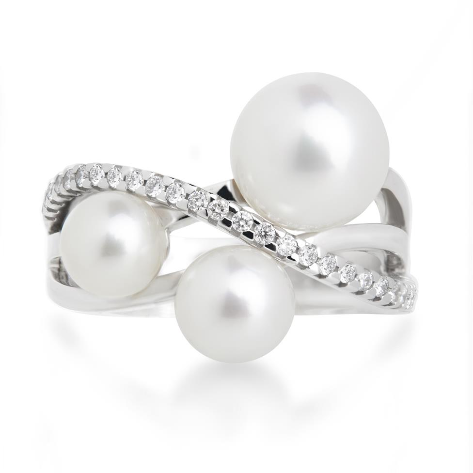 18ct White Gold Pearl and Diamond Crossover Ring Thumbnail Image 1