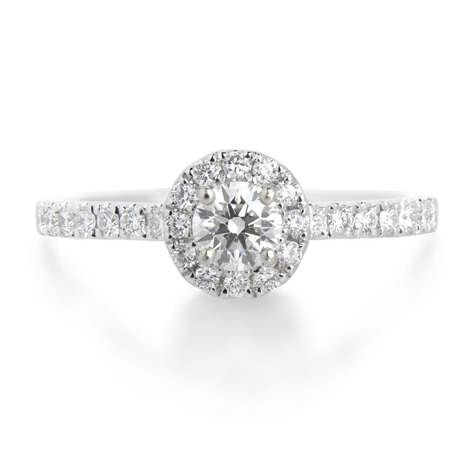 18ct White Gold 0.60ct Diamond Halo Ring Thumbnail Image 0