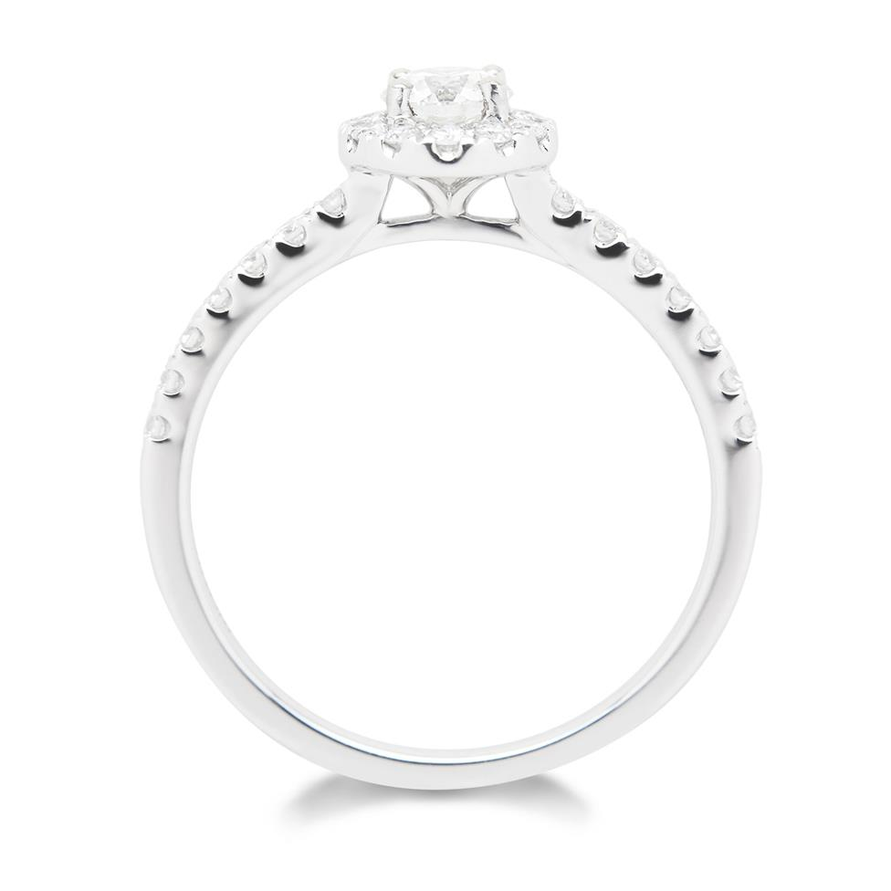 18ct White Gold 0.60ct Diamond Halo Ring Thumbnail Image 2