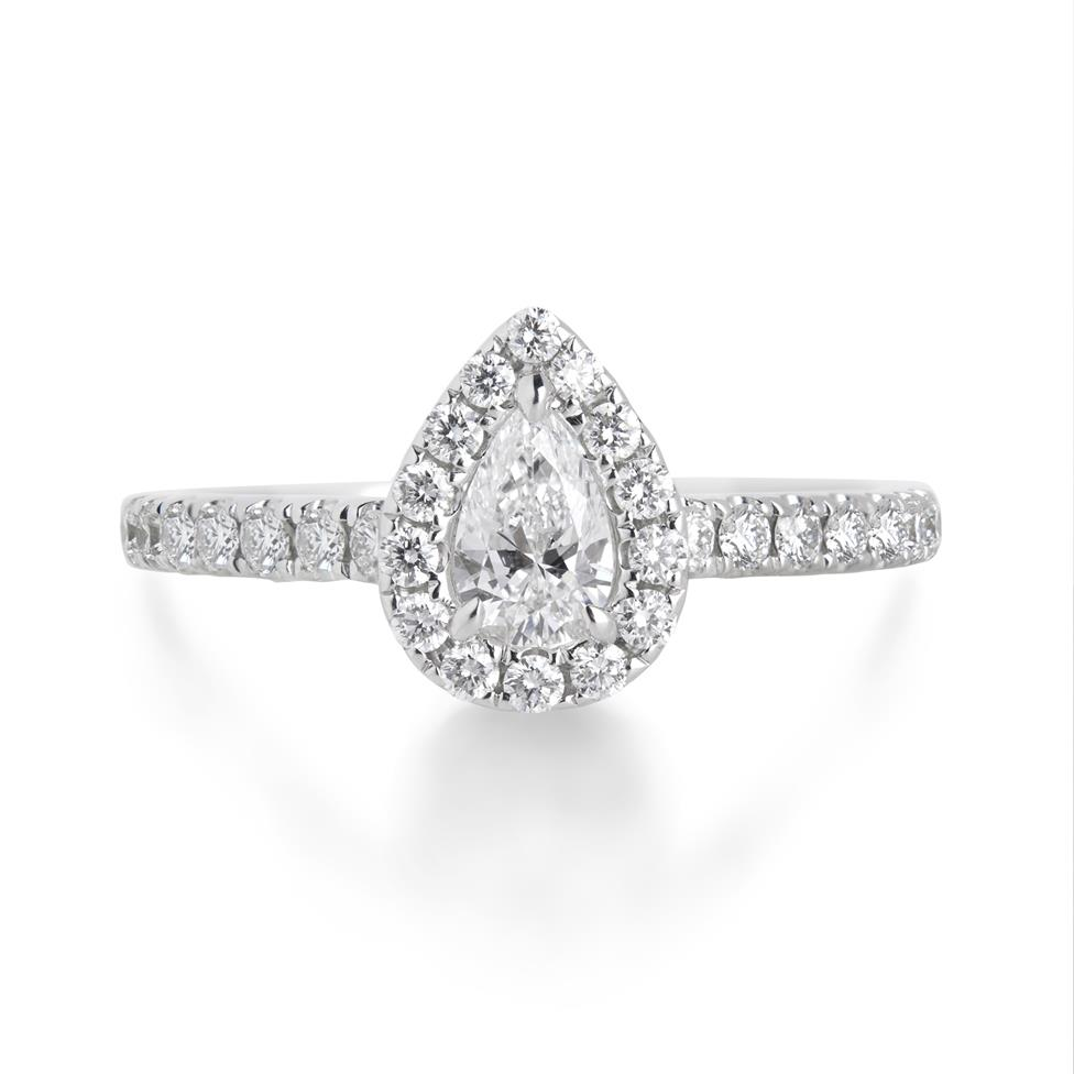 18ct White Gold Pear Shape 0.77ct Diamond Halo Ring Image 1