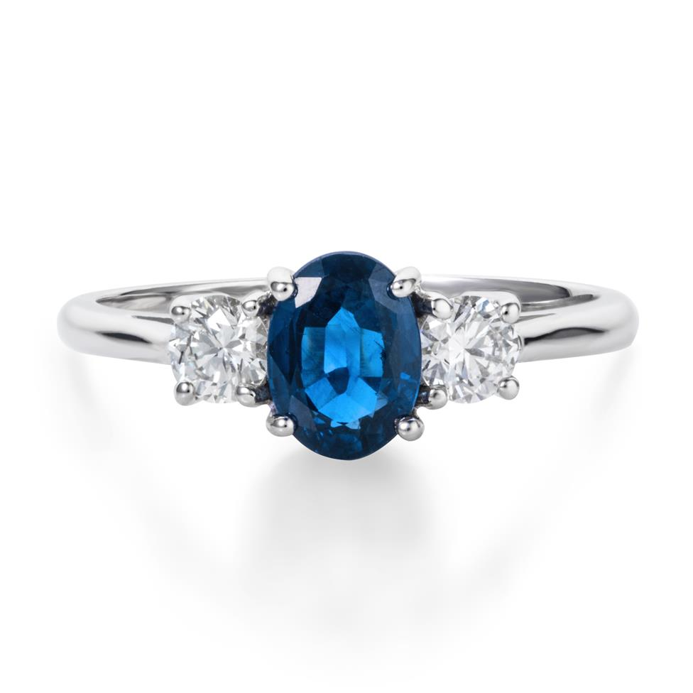 18ct White Gold Oval Sapphire Diamond Ring Thumbnail Image 1