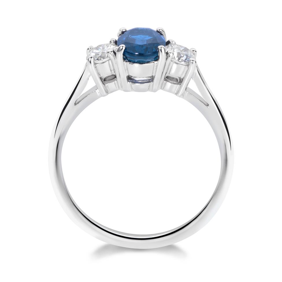18ct White Gold Oval Sapphire Diamond Ring Thumbnail Image 2