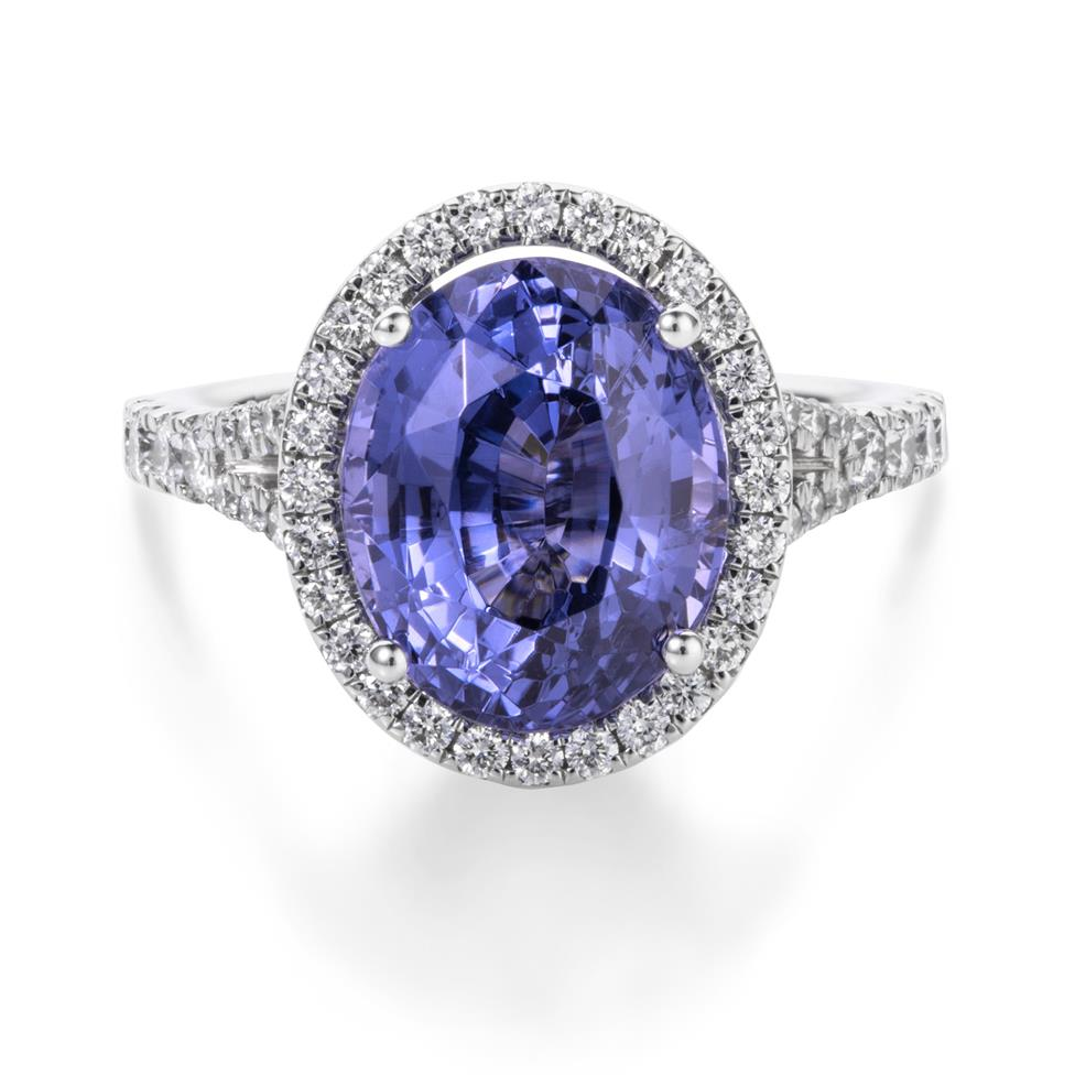 18ct White Gold Purple Spinel and Diamond Halo Dress Ring Thumbnail Image 2