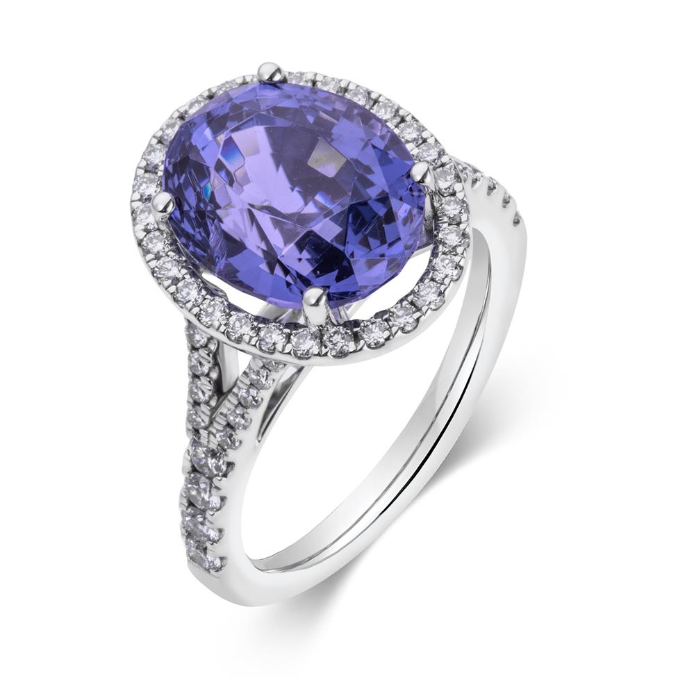 18ct White Gold Purple Spinel and Diamond Halo Dress Ring Thumbnail Image 0
