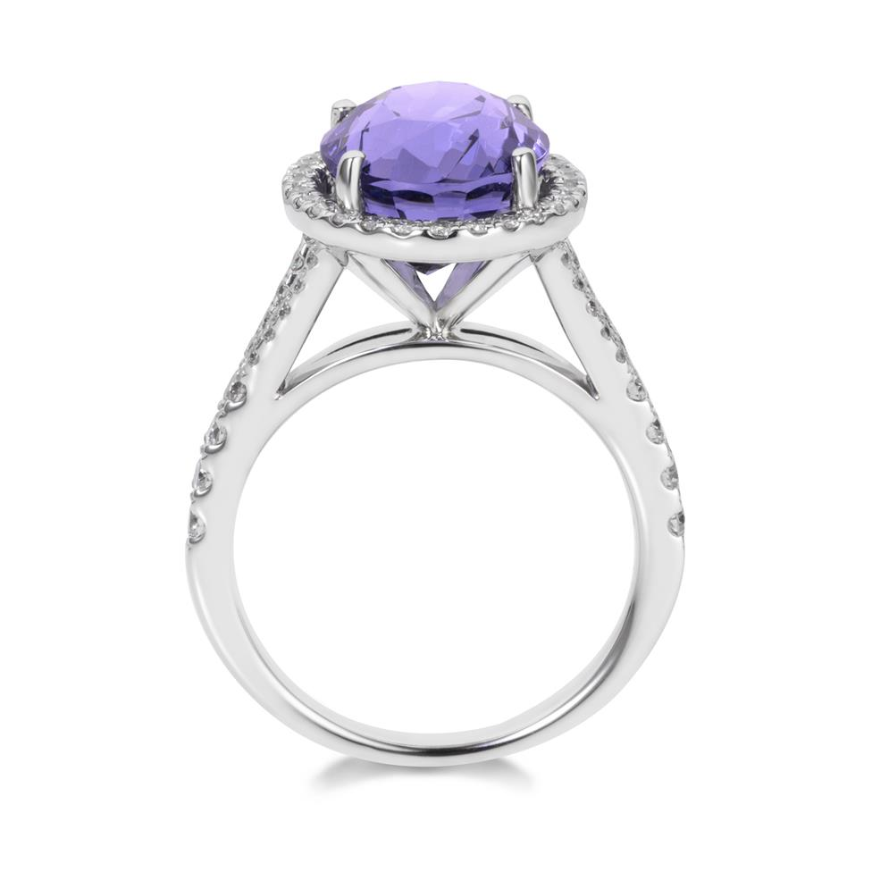 18ct White Gold Purple Spinel and Diamond Halo Dress Ring Thumbnail Image 3