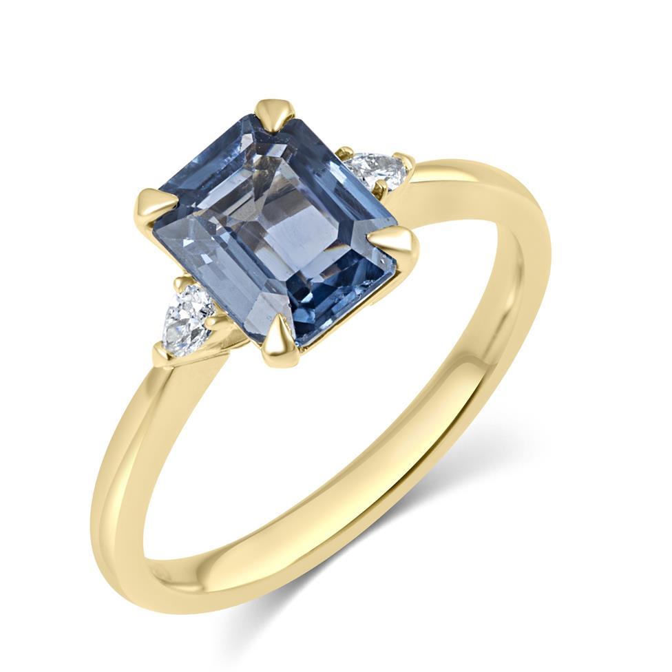 18ct Yellow Gold Light Blue Sapphire and Diamond Three Stone Engagement Ring Thumbnail Image 0