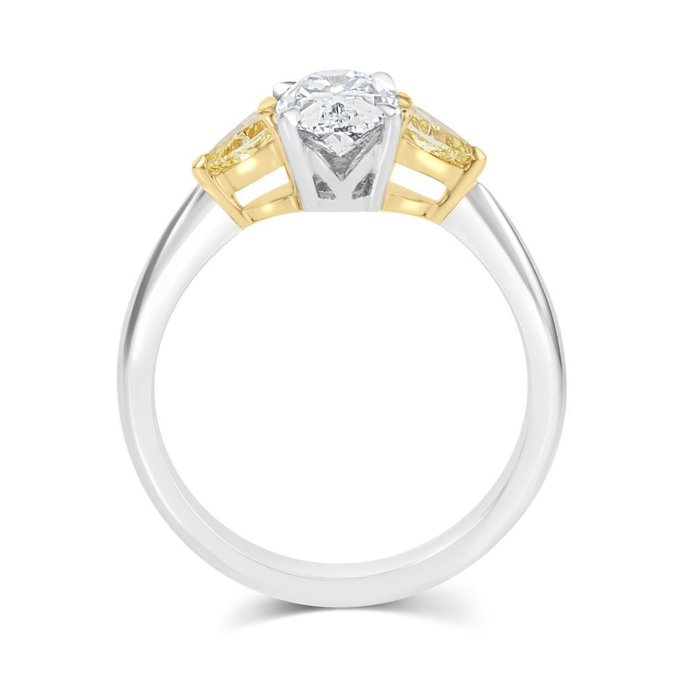 Platinum Oval Cut Diamond and Yellow Diamond Three Stone Engagement Ring Thumbnail Image 3