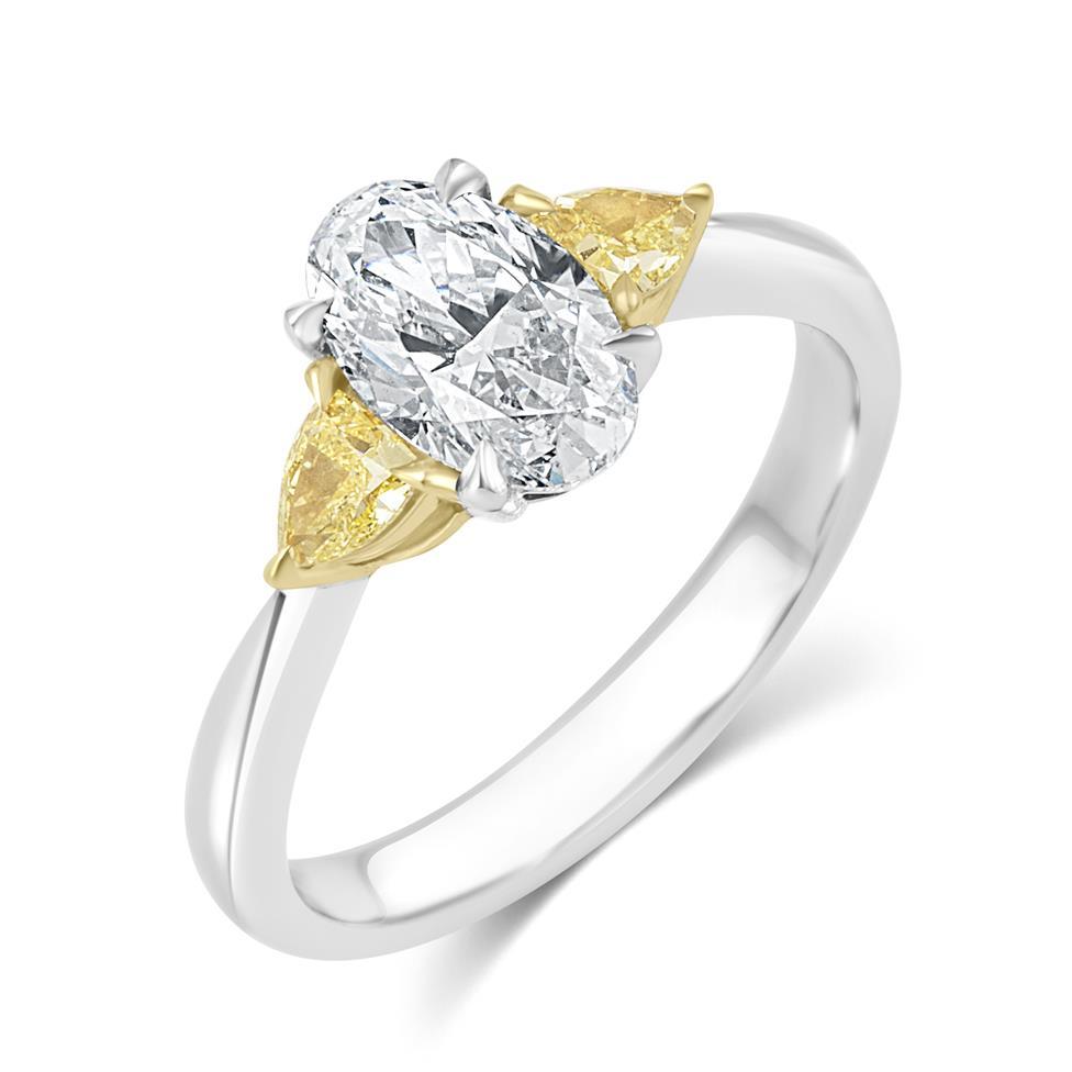 Platinum Oval Cut Diamond and Yellow Diamond Three Stone Engagement Ring Thumbnail Image 0