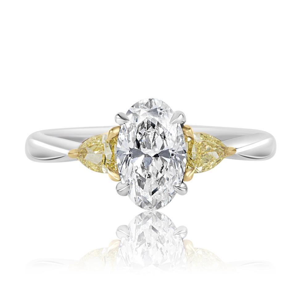 Platinum Oval Cut Diamond and Yellow Diamond Three Stone Engagement Ring Thumbnail Image 2