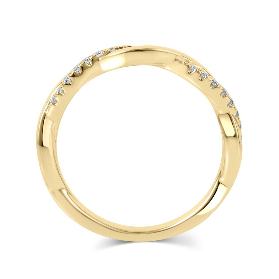 18ct Yellow Gold Plait Design Diamond Set Wedding Ring 0.13ct Thumbnail Image 2