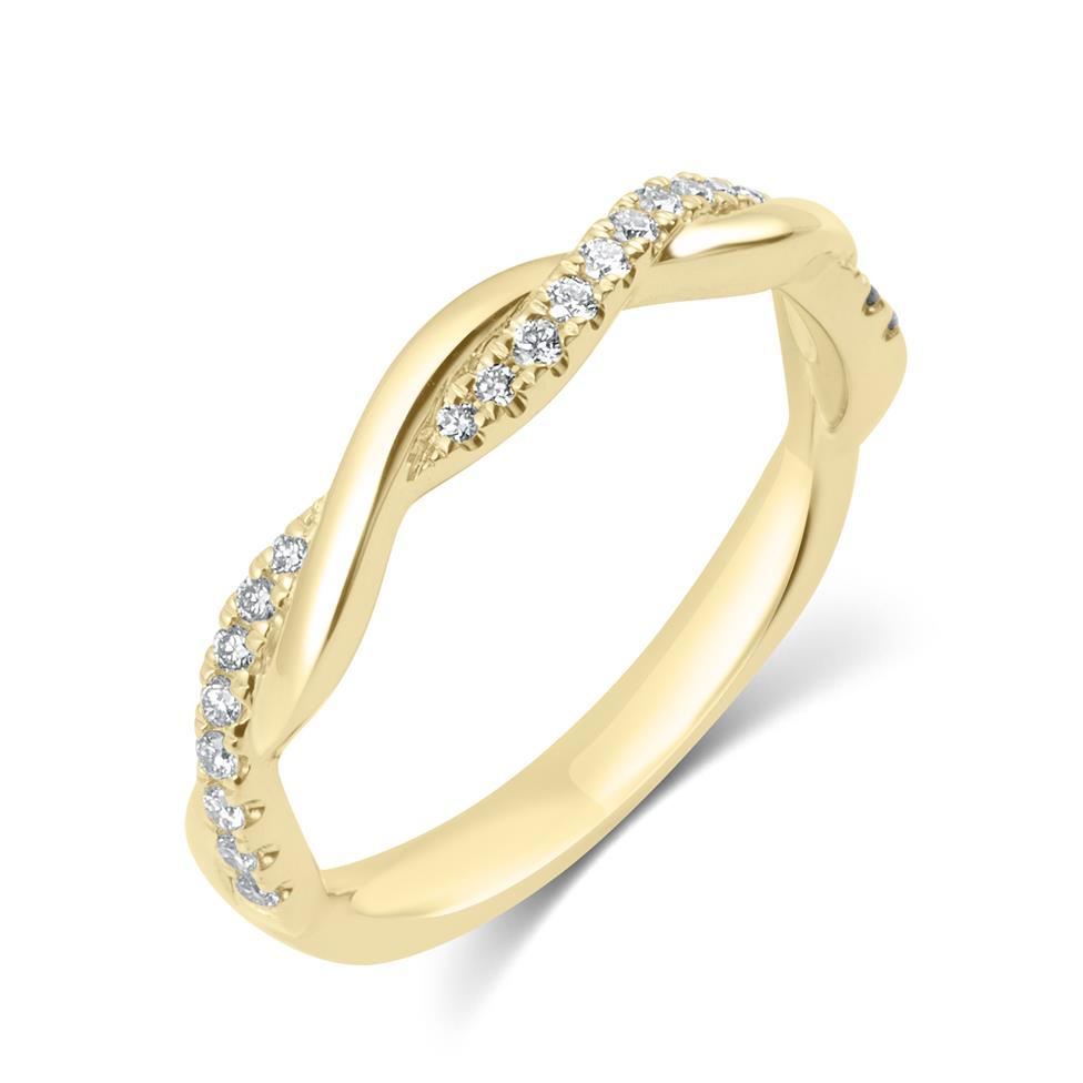 18ct Yellow Gold Plait Design Diamond Set Wedding Ring 0.13ct Thumbnail Image 0