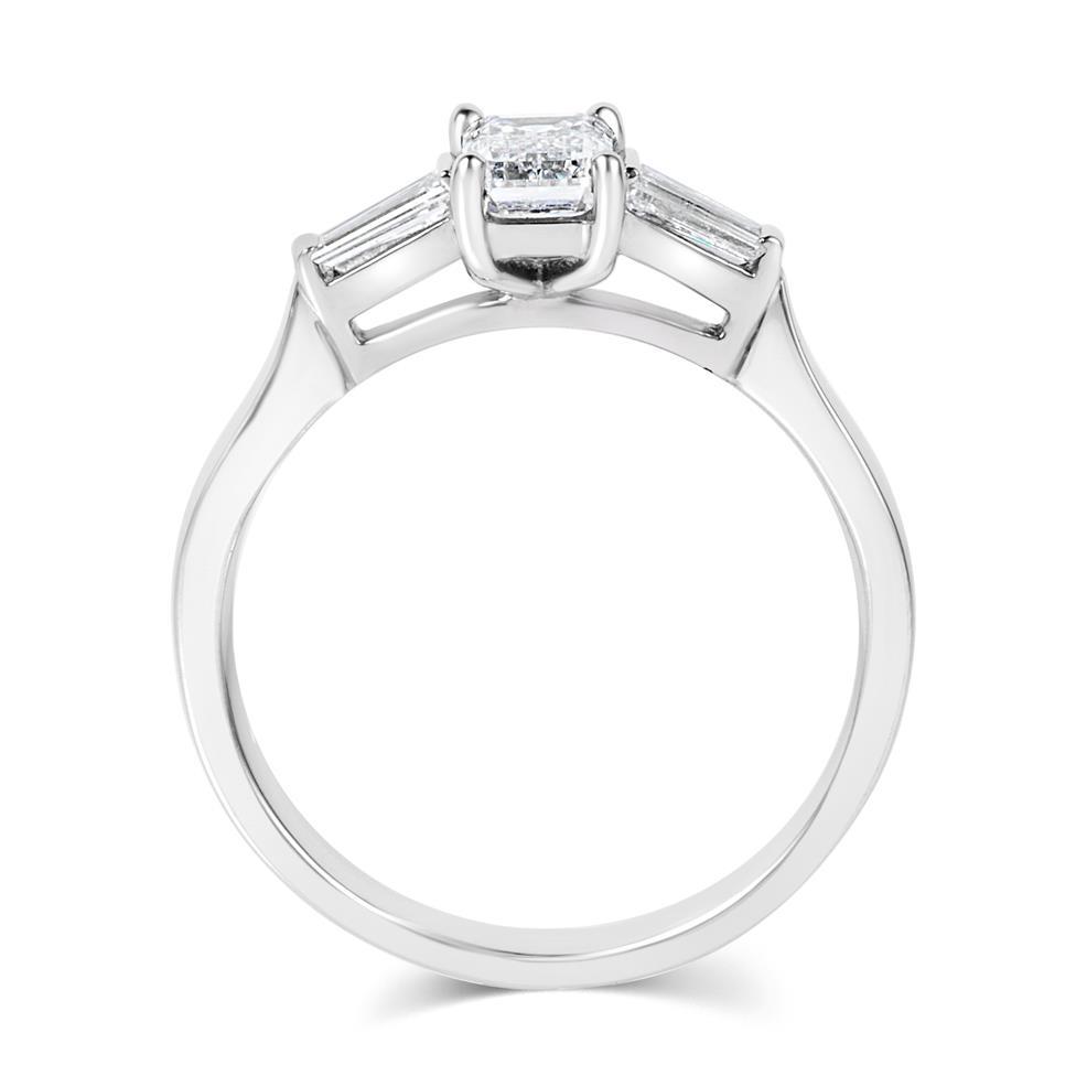 Platinum Emerald Cut And Baguette Cut Diamond Three Stone Engagement Ring 0.80ct Thumbnail Image 3