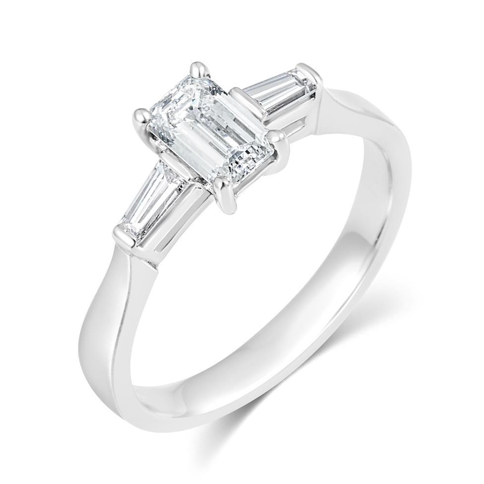 Platinum Emerald Cut And Baguette Cut Diamond Three Stone Engagement Ring 0.80ct Thumbnail Image 0